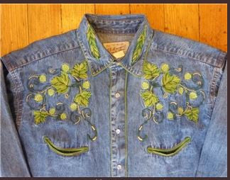 Vintage Inspired Western Mens Shirt Rockmount Ranch Wear Hops Denim Front