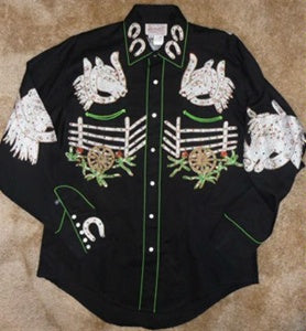 Rockmount Ranch Wear Mens Vintage Western Shirt Horse Heads and Saddles Black Front