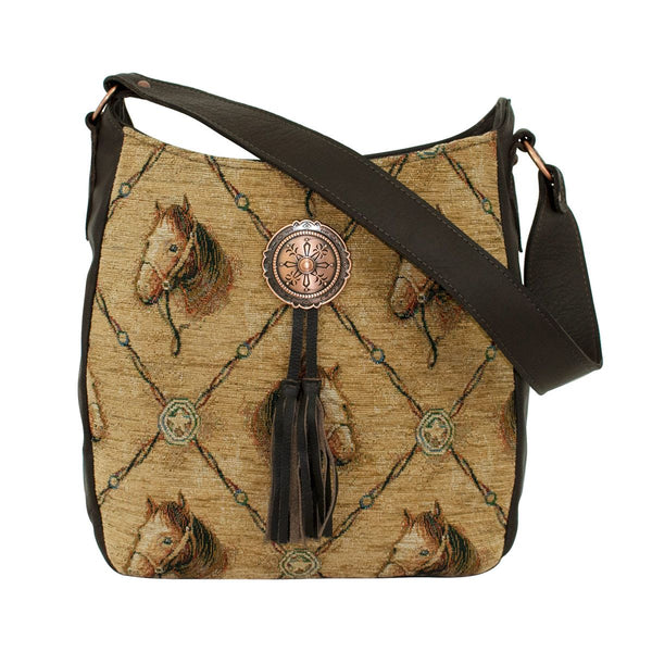 American West Horse Print Textile Front Shoulder Bag