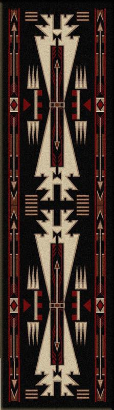 American Dakota Rug Horse Thieves 2x8 Runner Black
