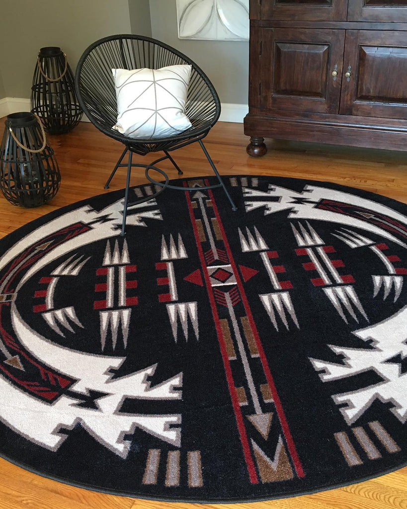 American Dakota Rug Horse Thieves Black Round