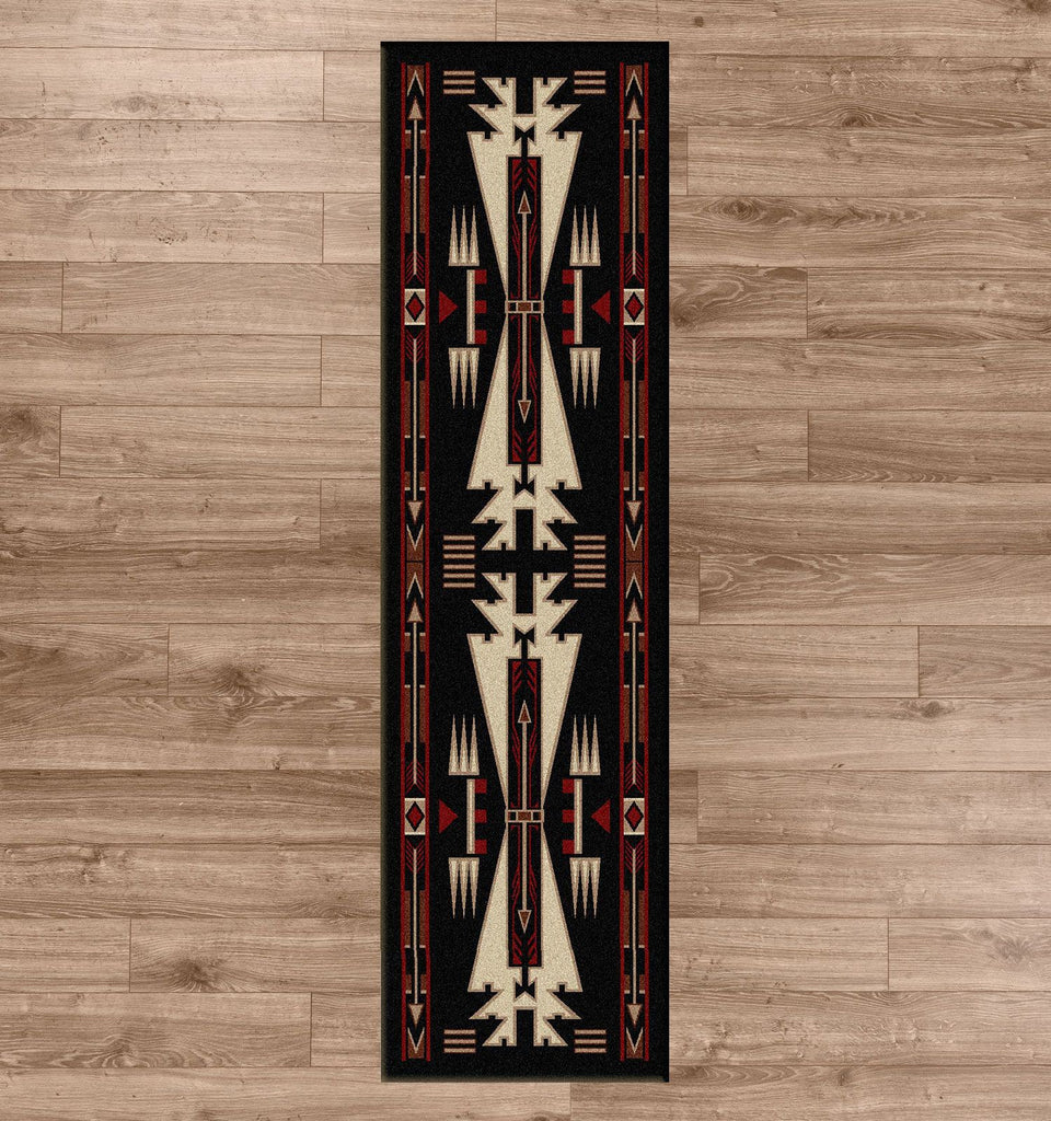 American Dakota Rug Horse Thieves Black Runner