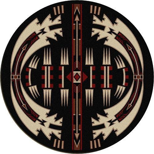 American Dakota Rug Horse Thieves Round Black