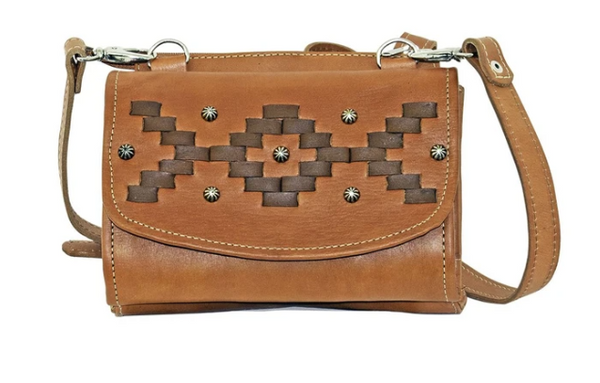 American West Handbag Tribal Weave Crossbody Distressed Charcoal #4483982