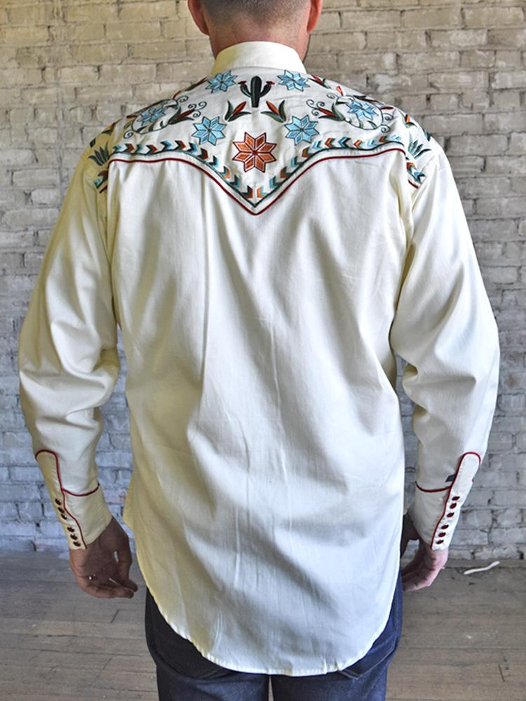 Rockmount Ranch Wear Men's Agave Cactus Foral Embroidery Ivory Back