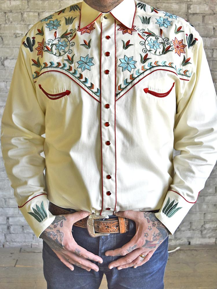 Rockmount Ranch Wear Men's Agave Cactus Foral Embroidery Ivory Front