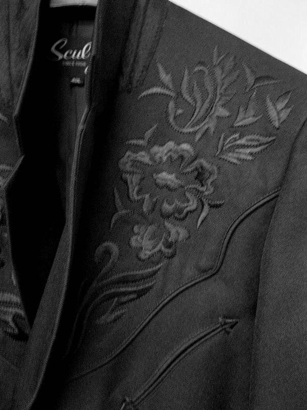 Scully Men's Western Blazer with Black Floral Embroidery on Black Front View