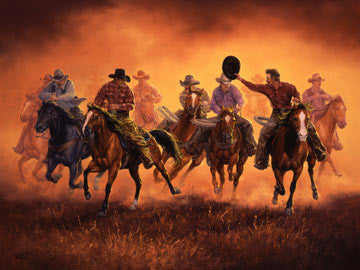 "Art Ceramic Tile ""Kickin' Up Dust"" by Western artist Jack Sorenson"