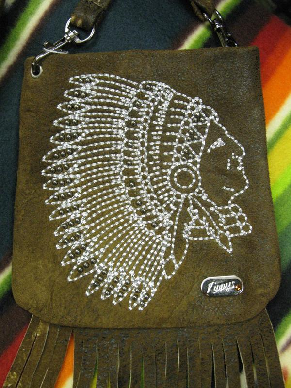 Kippys Western Pouch Crossbody Headress Silver Stitch Fringe