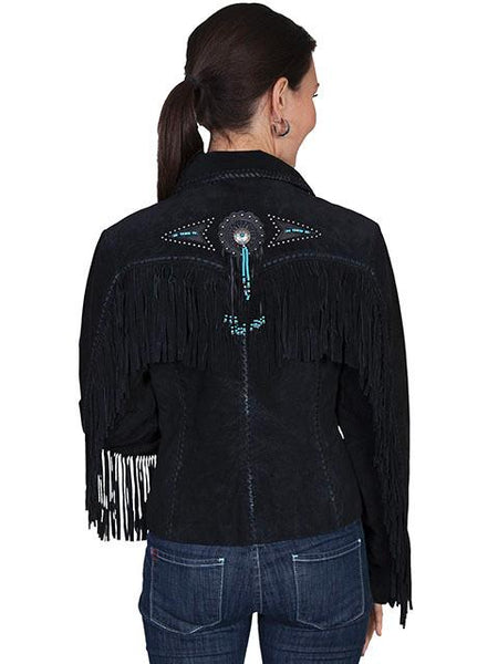 Scully Women's Lamb Jacket with Fringe, Conchos, Beads Black Front