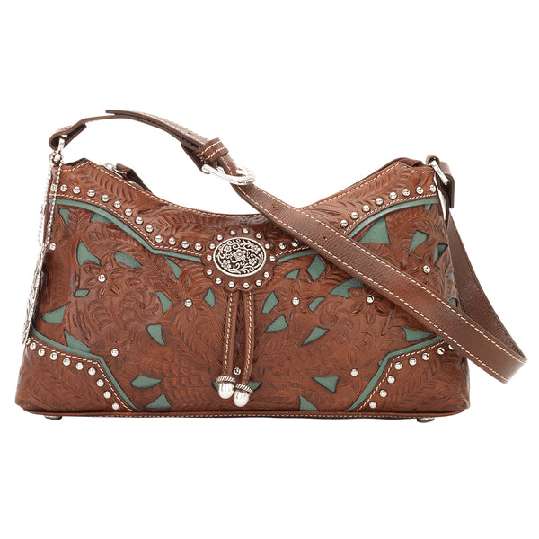 American West Zip Top Shoulder Bag Antique Brown Front