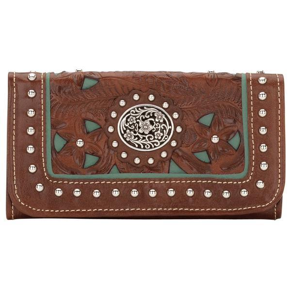 American West Lady Lace Tri-Fold Wallet Antique Brown Front