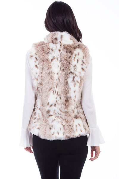 Scully Ladies' Faux Fur Leopard Print Vest Front
