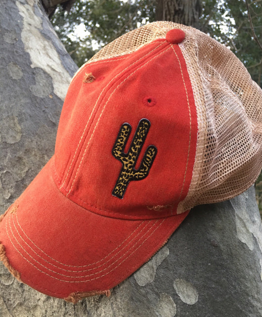 Original Cowgirl Clothing Leopard Spots Cactus Ball Cap Red Wash  #270815