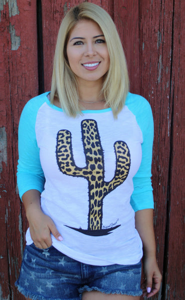 Original Cowgirl Clothing Baseball T-Shirt Leopard Cactus Turquoise Sleeves Jr, Sizes
