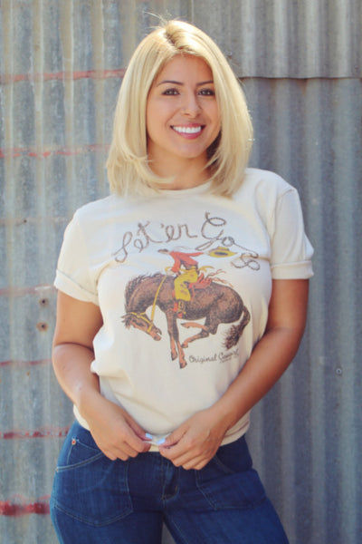 Original Cowgirl Clothing T-Shirt Let'er Go Ladies' Sizes