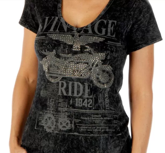 Liberty Wear Women's T-Shirt Vintage Ride Mineral Wash Grey Front View Detail