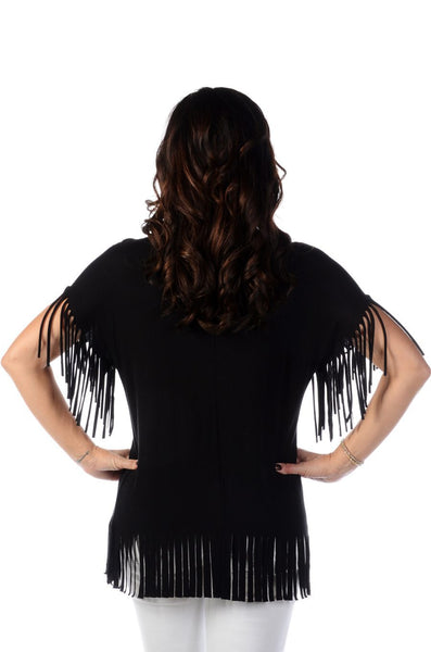 Liberty Wear Top Feathers & Rhinestone Drops with Fringe Black Front