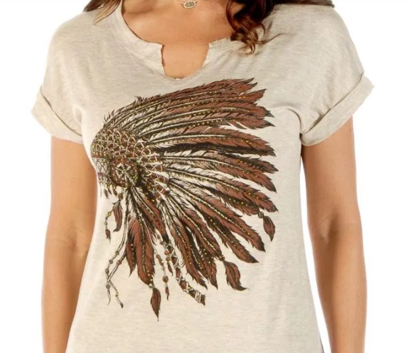 Liberty Wear Women's T-Shirt Battle Headdress Oat Front View Detail