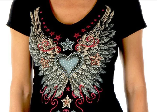 Liberty Wear Women's T-Shirt Vintage Heart & Wings Black Front View Detail