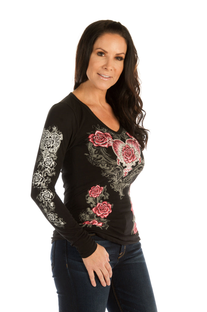 Liberty Wear Women's Top with Hearts, Roses, Wings Black Side View