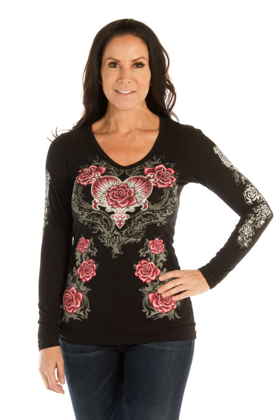 Liberty Wear Women's Top with Hearts, Roses, Wings Black Front View