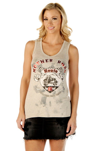 Liberty Wear Women's Tank Mother Road RT 66 Black Front