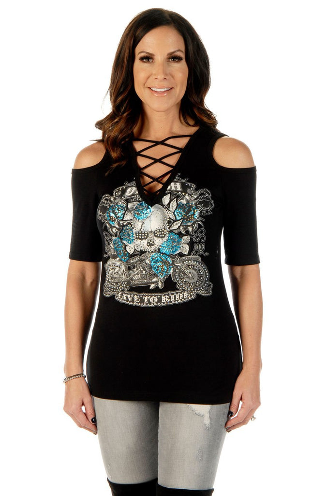 Liberty Wear Women's T-Shirt Bikers Booze Babes Skull Black Front