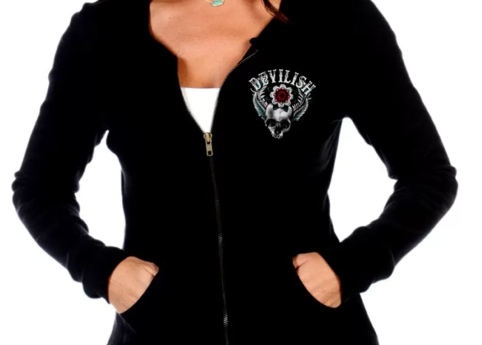 Liberty Wear Women's Hoodie Devilish Zip Front Skull Front View Detail