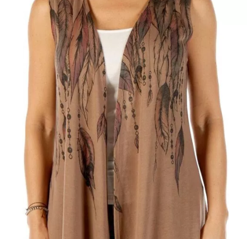 Liberty Wear Women's Feathers & Bead Vest Dark Mocha Front Detail