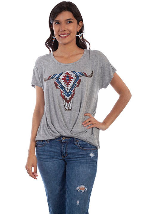 Scully Ladies' HC609 Honey Creek Patriotic Longhorn T-Shirt Front