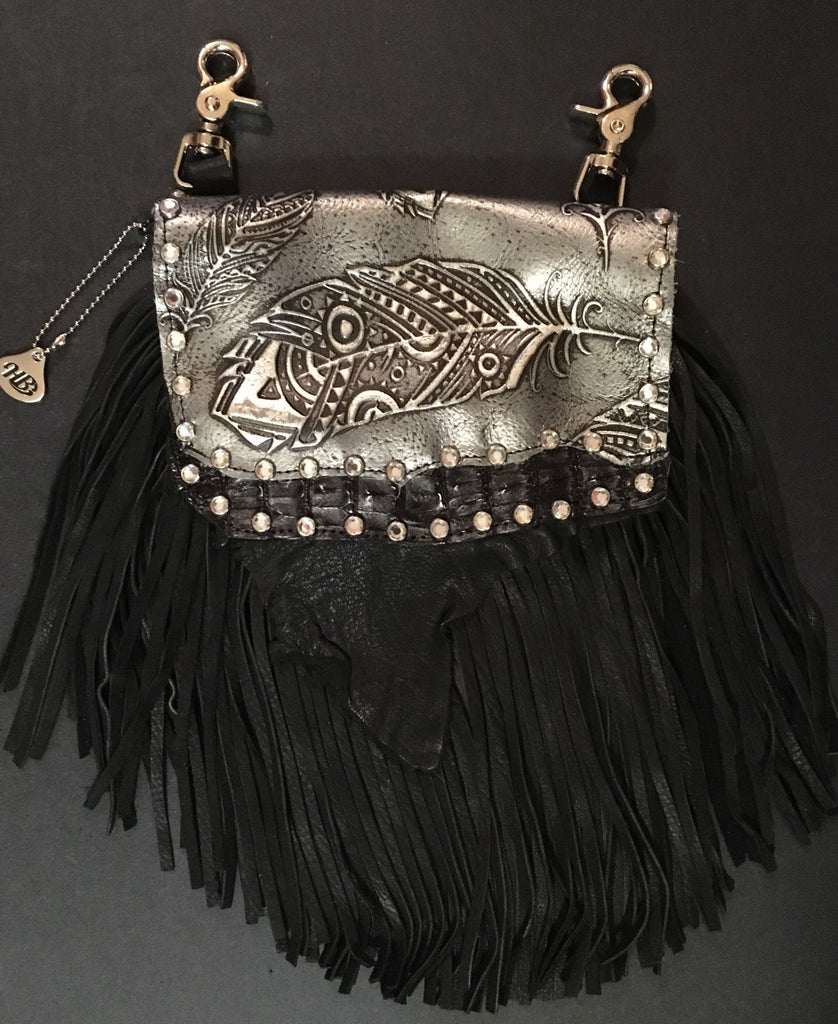 Marty Style Fringe Hip Bag Black with Crystals Front