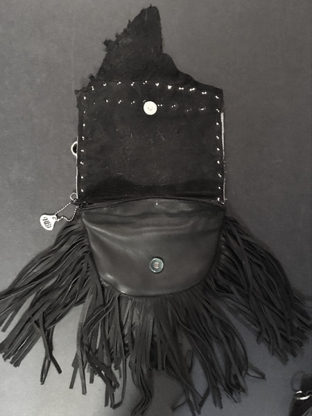 Marty Style Fringe Hip Bag Black with Crystals Front with Strap