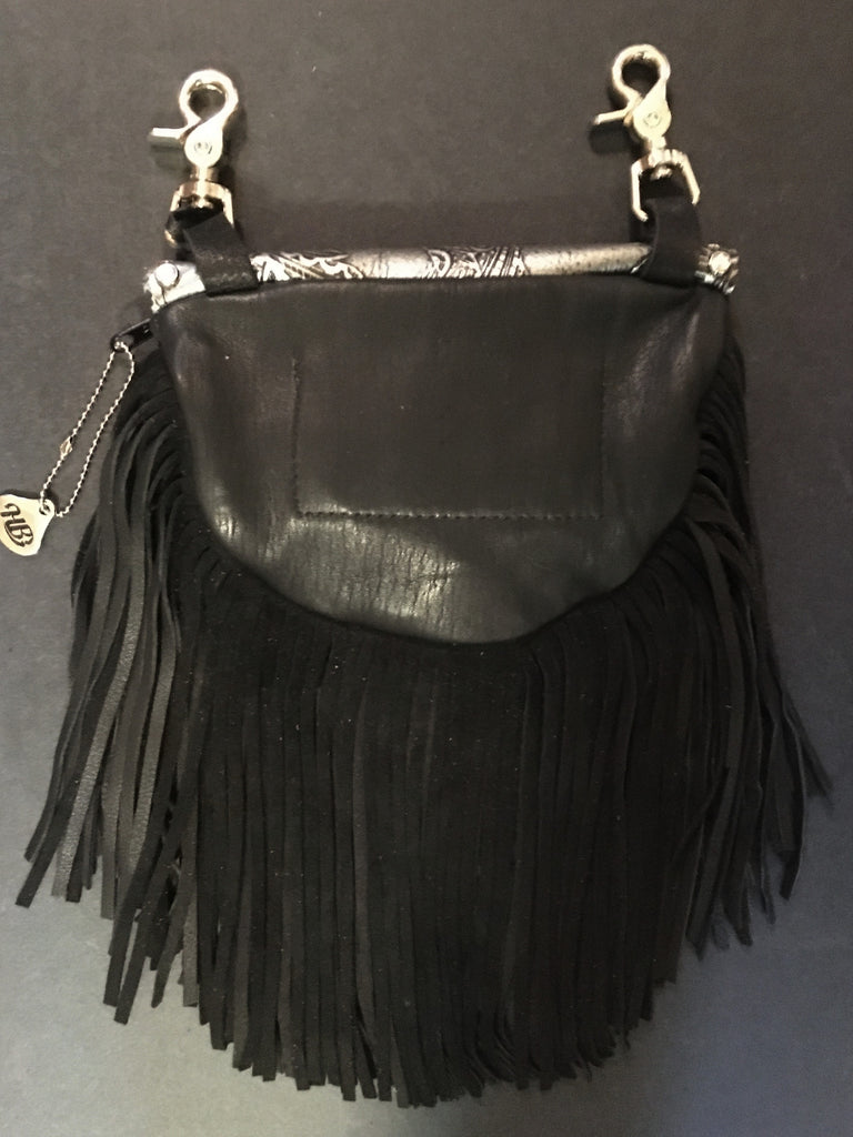 Marty Style Fringe Hip Bag Black with Crystals Back