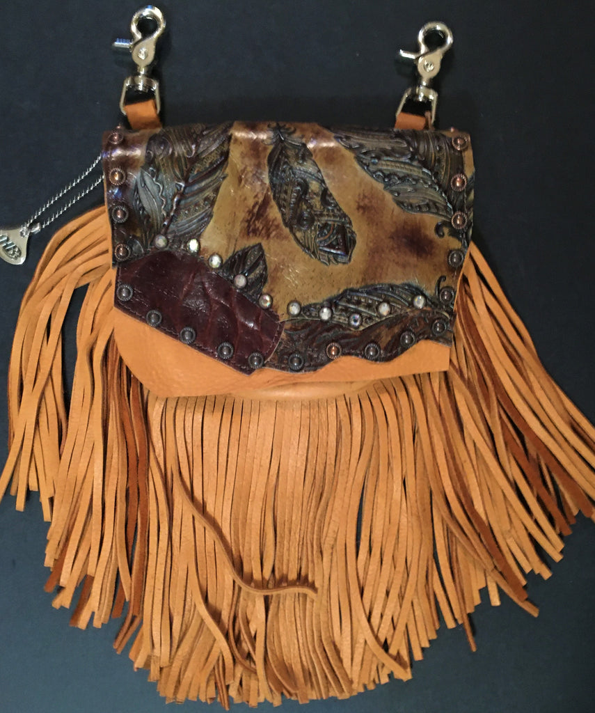 Marty Style Hip Bag of Saddle Tan Fringe Leather Front