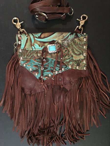 Marty Hip Bag of Dark Brown Deer with Turquoise Lid Fringe Front