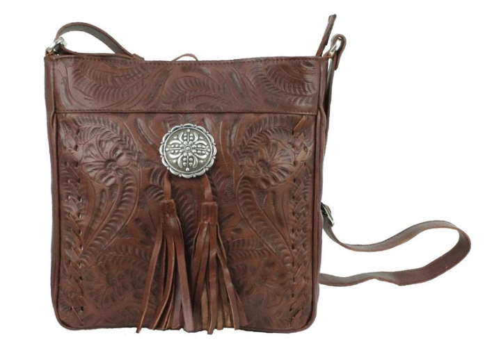 American West Lariats & Lace Messenger Bag Dark Brown