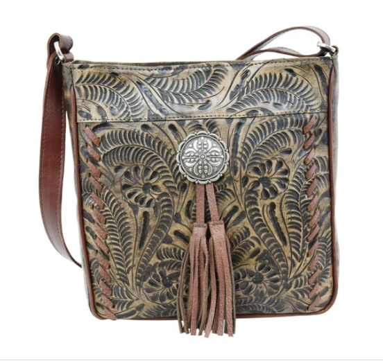American West Lariats & Lace Messenger Bag Distressed Charcoal