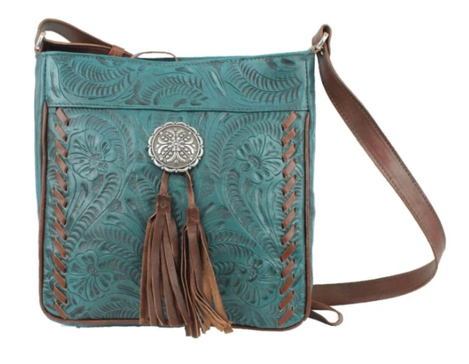 American West Lariats & Lace Messenger Bag Dark Turquoise