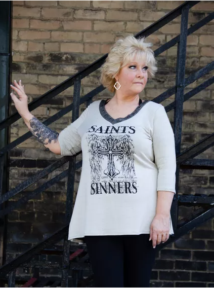 Liberty Wear Saints And Sinners Top Beige Front #117880A