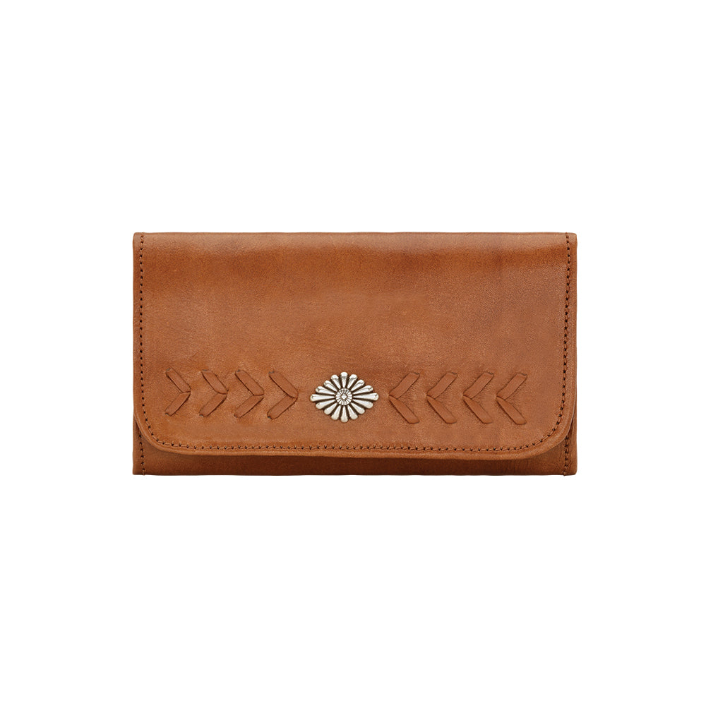 American West Mohave Collection Tri-Fold Wallet Golden Tan Front