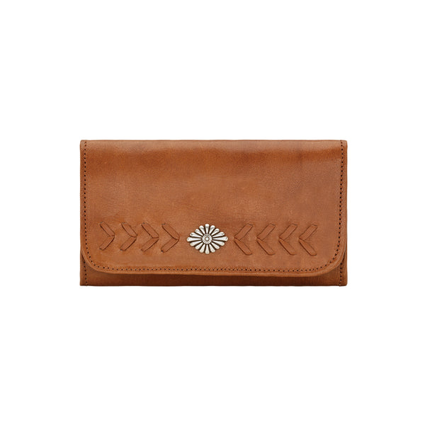American West Mohave Collection Tri-Fold Wallet Natural Tan Front