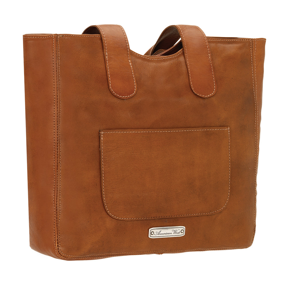 American West Mohave Collection Zip Top Tote Natural Tan Back