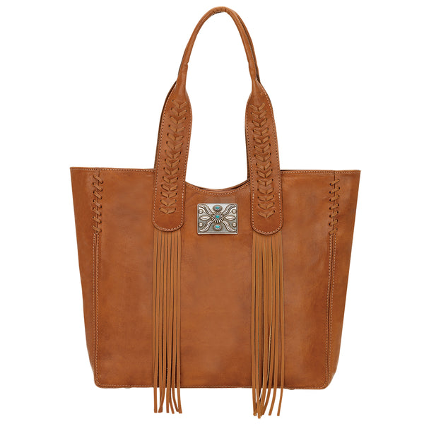 American West Mohave Collection Zip Top Tote Natural Tan Front
