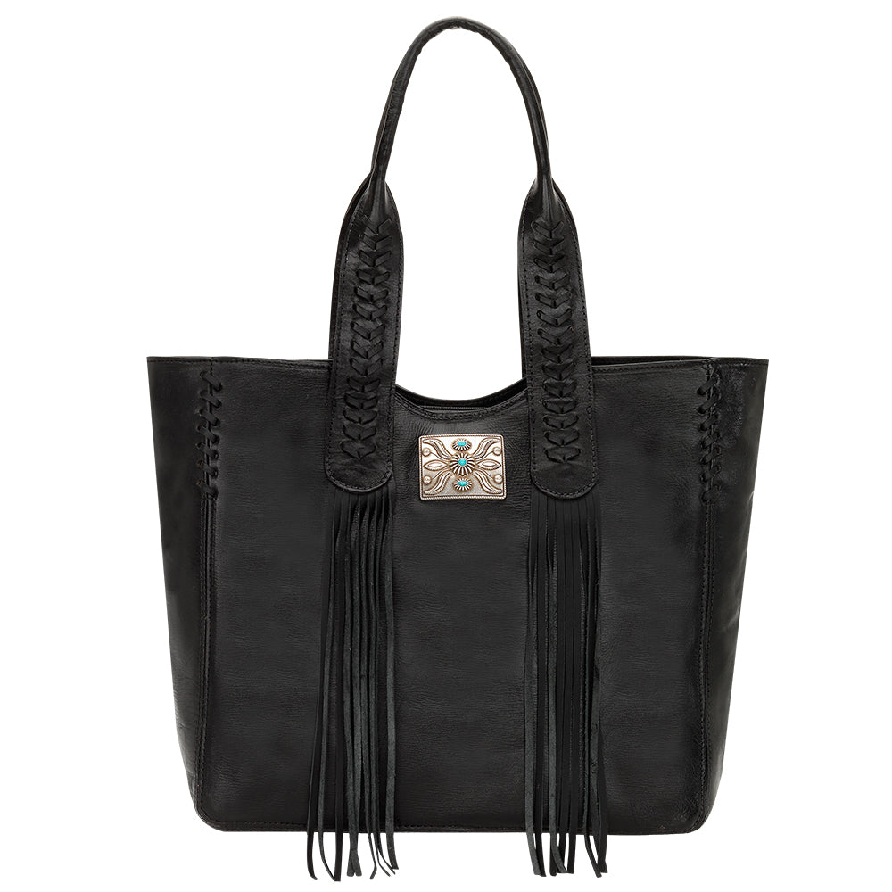 American West Mohave Collection Zip Top Tote Black Front