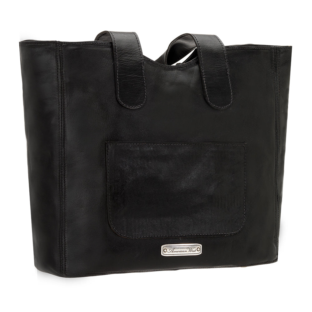 American West Mohave Collection Zip Top Tote Black Back