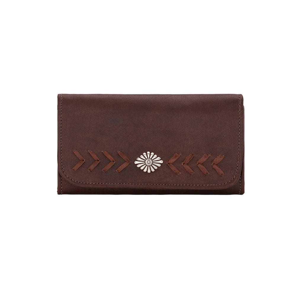 American West Mohave Collection Tri-Fold Wallet Chestnut Brown Front