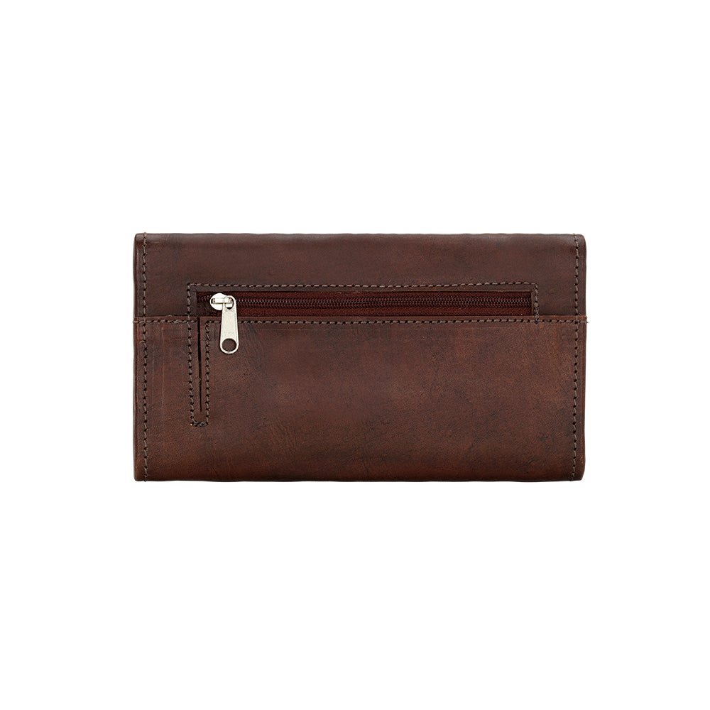 American West Mohave Collection Tri-Fold Wallet Chestnut Brown Back