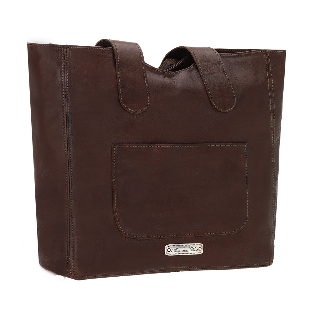 American West Mohave Collection Zip Top Tote Chestnut Brown Back