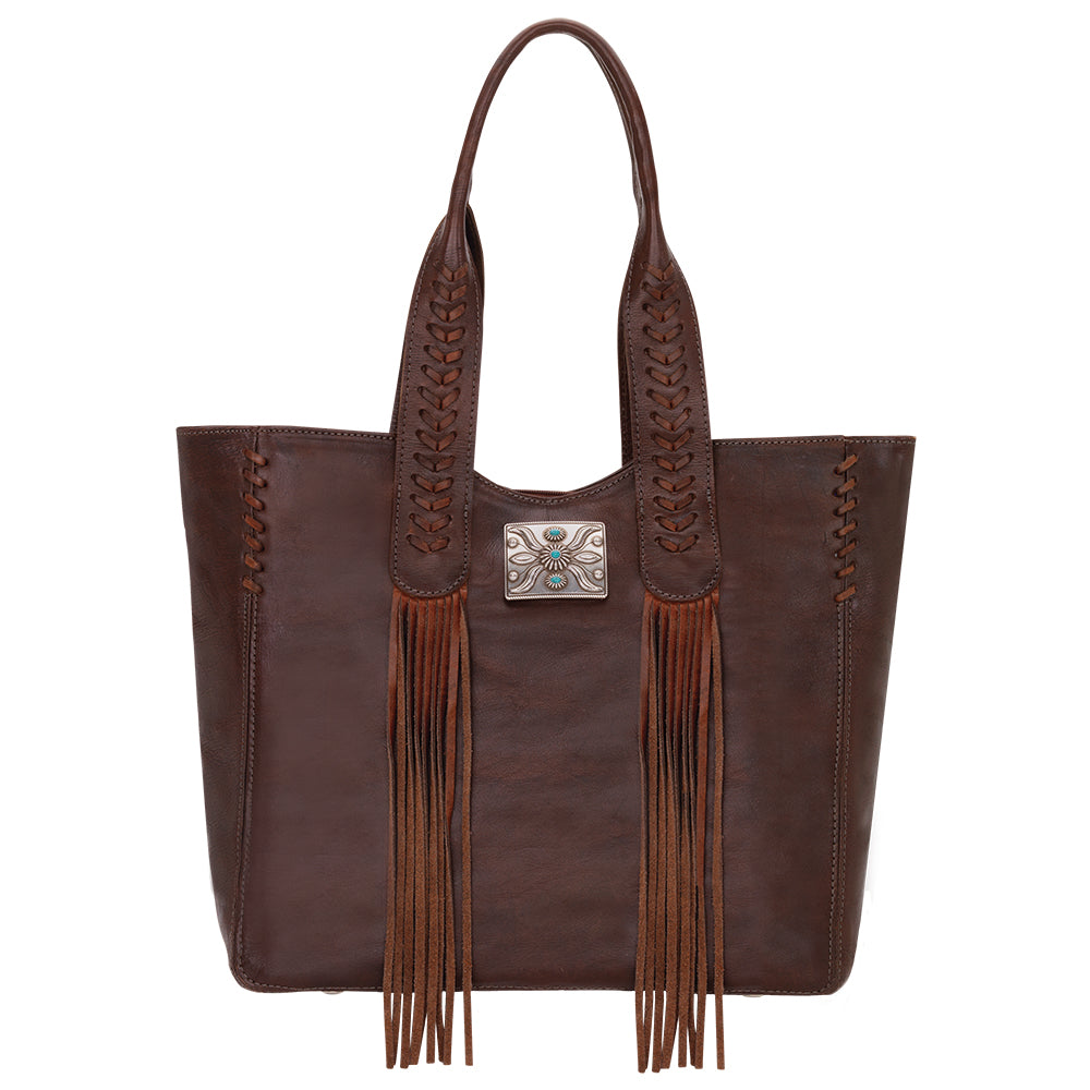 American West Mohave Collection Zip Top Tote Chestnut Brown Front